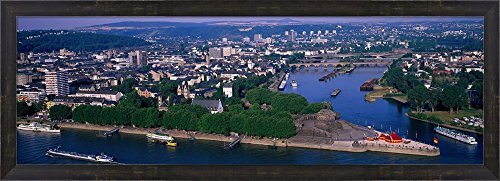 Rhine River Mosel River Koblenz Germany by Panoramic Images Framed Art Print Wall Picture, Espresso Brown Frame, 38 x 14 inches (Framed River Rhine)