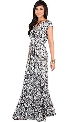 KOH KOH Petite Women Long Cap Short Sleeve Printed V-Neck Empire Waist Summer Boho Bohemian Maternity Casual Sundresses Gown Gowns Maxi Dress Dresses, Black Gray and White S 4-6