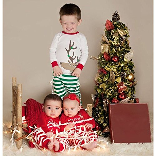 2018 Clearance Kids Christmas Party Outfits Set Pajama,Toddler Baby Girl Boy Deer T-shirt Tops Plaid Pants Home Wear (White B, 12-18 Months)