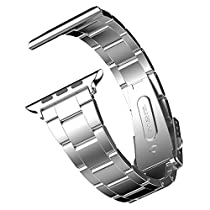Apple Watch Band, JETech 42mm Stainless Steel Strap Wrist Band Replacement w/ Metal Clasp for Apple Watch All Models 42mm (Silver) - 2105