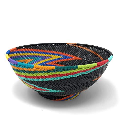 Bridge for Africa Fair Trade Zulu Telephone Wire 8-inch Round Pedestal Bowl, African Rainbow