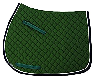 TuffRider Basic All Purpose Saddle Pad w/Trim and Piping - White/Hunter/Burgundy Standard