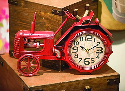 Manual Woodworkers ArtFuzz Tractor Table Clock Red 16X2.25X11.75