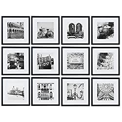 Gallery Perfect 12 Piece Black Square Photo Frame Gallery Wall Kit with Decorative Art Prints & Hanging Template, Set