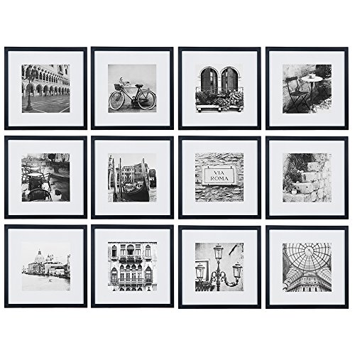 (Gallery Perfect 12 Piece Black Square Photo Frame Gallery Wall Kit with with Decorative Art Prints & Hanging Template, Set)