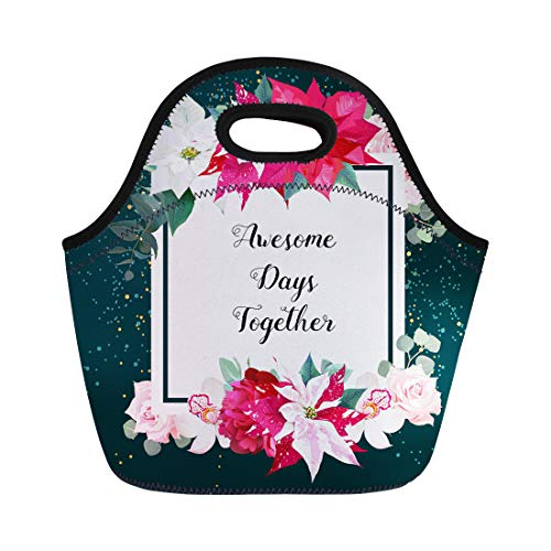 Semtomn Lunch Bags Christmas Poinsettia Emerald Burgundy Red Peony Pink Roses Neoprene Lunch Bag Lunchbox Tote Bag Portable Picnic Bag Cooler Bag