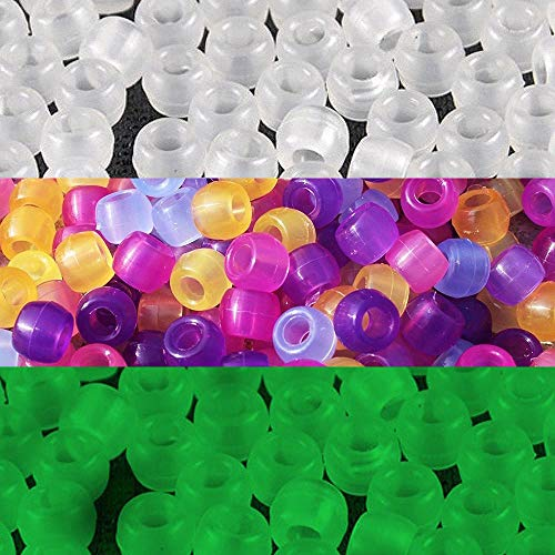 JPSOR 500 Pcs Uv Beads Multi Color Changing Reactive Plastic Beads - Also Glows in the Dark (Glows in the Dark)