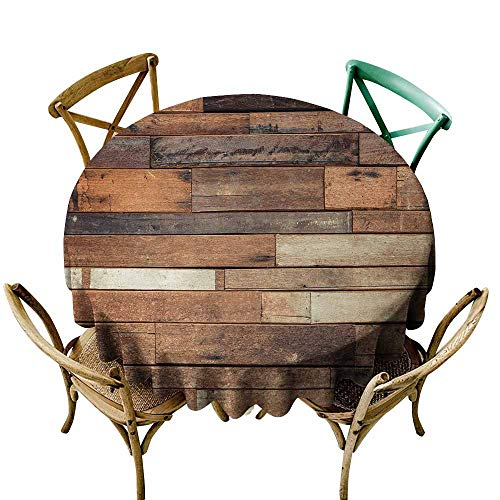Oncegod Spill-Proof Table Cover Wood Print Rustic Floor Planks Digital Printed Grungy Look Farm House Country Style Walnut Oak Grain Image for Events Party Restaurant Dining Table Cover 60 INCH Brown