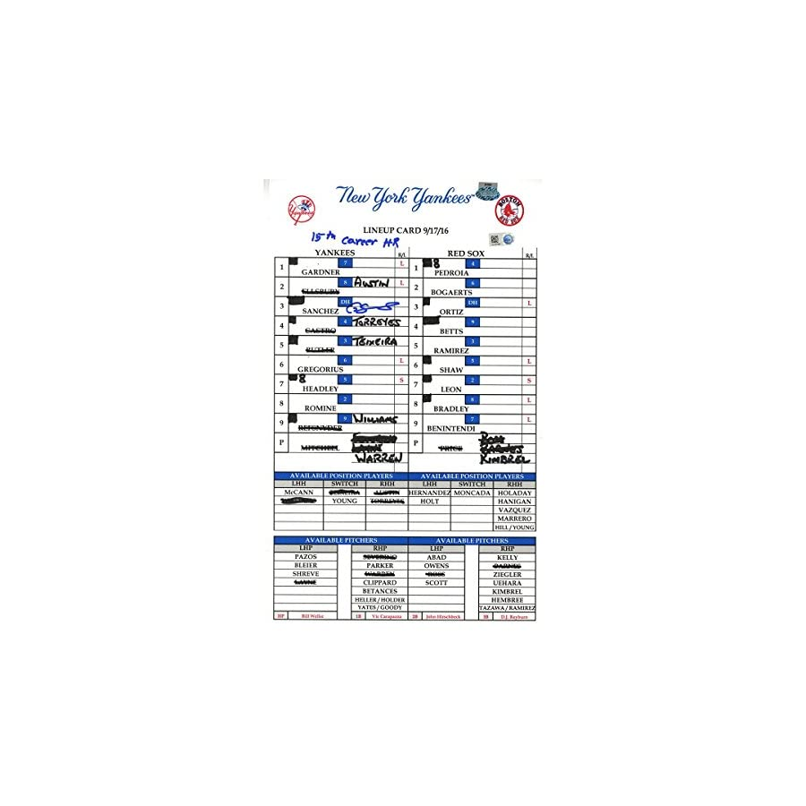 Gary Sanchez Signed Yankees at Red Sox 9 17 2016 Game Used Lineup Card w/ 15th Career HR Insc (JC047098)