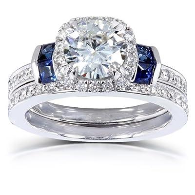 Round-cut Moissanite Diamond & Blue Sapphire Wedding Ring Set 1 3/4 Carat (ctw) in 14k White Gold