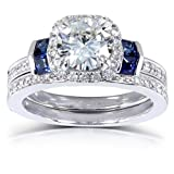 Round-cut Moissanite Bridal Set with Diamond & Sapphire 1 3/4 CTW 14k White Gold