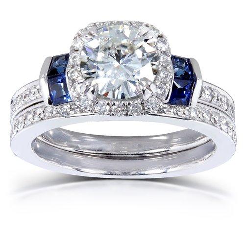 Round-cut-Moissanite-Diamond-Blue-Sapphire-Wedding-Ring-Set-1-34-Carat-ctw-in-14k-White-Gold