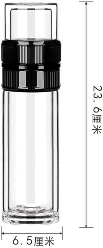 茶分離ティーカップダブルガラスクリエイティブフィルターカップ女性と男性のティーカップポータブルハイグレード、黒、350ml