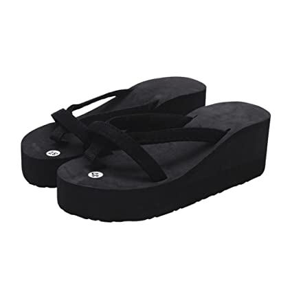 2cfe404c141 Lywey Women s Summer Fashion Anti-Slip Slipper Flip Flops Beach Wedge Thick  Sole Heeled Walking