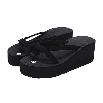435855c114df7 Lywey Women's Summer Fashion Anti-Slip Slipper Flip Flops Beach Wedge Thick  Sole Heeled Walking Shoes