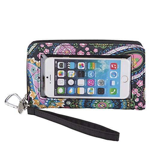 Charm 14 Cell Phone Deluxe Wallet/Touchscreen-Paisley Quilt-Fits All Phones Cell Phone Purse Charm
