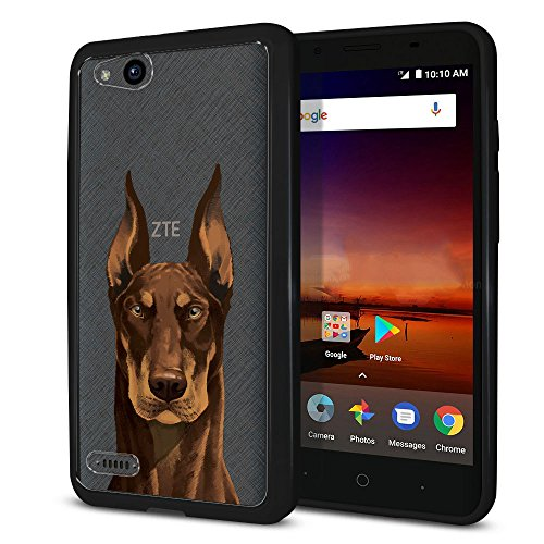 FINCIBO Tempo X N9137 Case, Slim Shock Absorbing TPU Bumper + Hard Back Protective Cover For ZTE Tempo X N9137 Z839 Tempo Go Fanfare 3 Avid 4 Z855 5 inch - Cute Red Chocolate Doberman Pinscher Dog (Red Ornaments Pinscher)