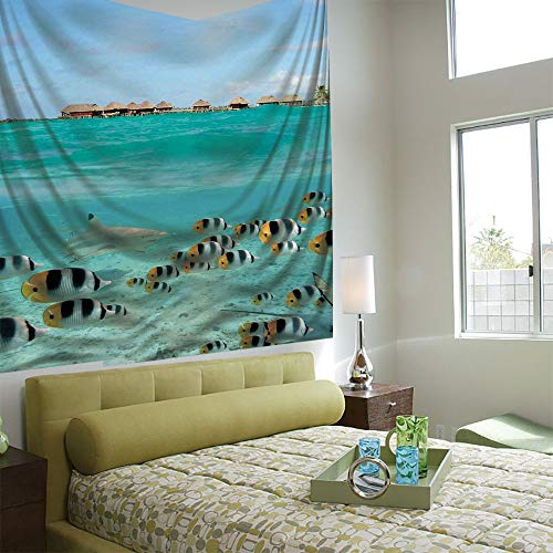 - AngelSept Tapestry Wall Hanging 3D Printing Tree Tapestry Wall TapestryLiving Room Bedroom,Ocean,Blacktip Reef Shark Chasing Butterfly Fish Lagoon of Bora Bora Tahiti,Aqua Yellow and Black