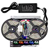 xtf2015 Led Strip Light Kit 10M/32.8ft SMD 5050 300leds RGB Strip Lights, Waterproof LED Tape Lights with 44key Remote Controller and 6A Power Supply for Home Kitchen Bedroom and Cabinet