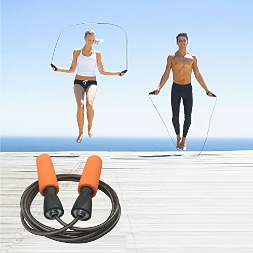 MAXSOINS Professional Adjustable Steel Wire Jump Rope with Carrying Pouch by Fitness Factor Ergonomic,Durable,Easy to Adjust Premium Jump Rope All Heights and Skill Levels Black