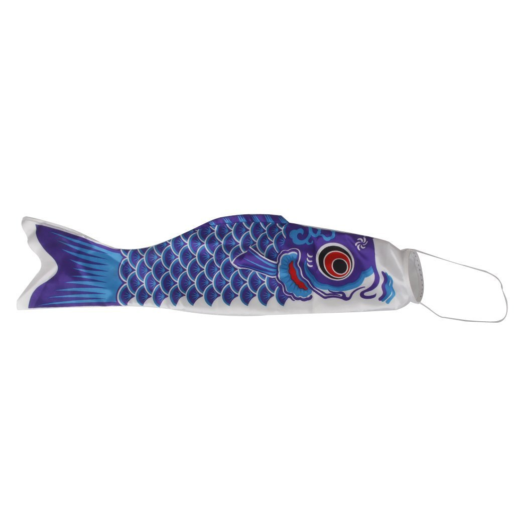 KEOIWDIE Giapponese Bandiera Manica a Vento Carpa Koi Nobori Pesce Vela Vento Streamer, Blue, 40 cm