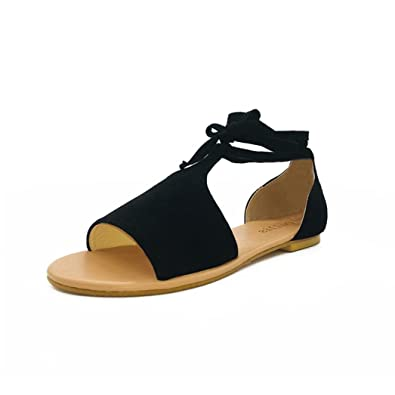 771df70bf2 Ladies Sandals Strappy Sandals Jamicy Women Summer Round Toe Beach Casual  Flat Rome Shoes (35