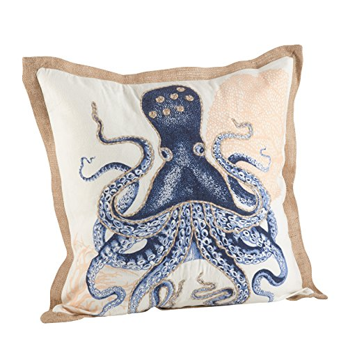 SARO LIFESTYLE Nautical Octopus Print Down Filled Throw Pillow (5435.NB20S), 20