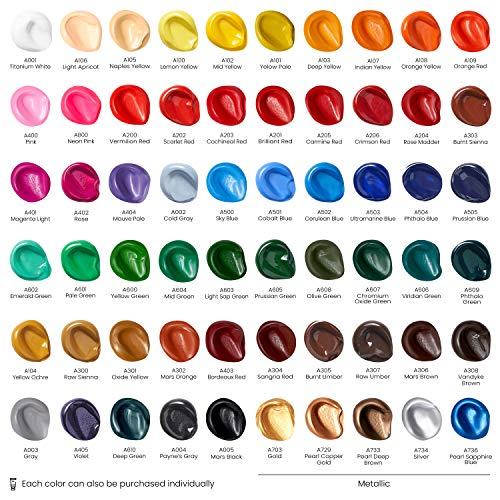 Arteza Acrylic Paint, Set of 60 Colors/Tubes (0.74 oz, 22 ml) with Storage Box, Rich Pigments, Non Fading, Non Toxic…