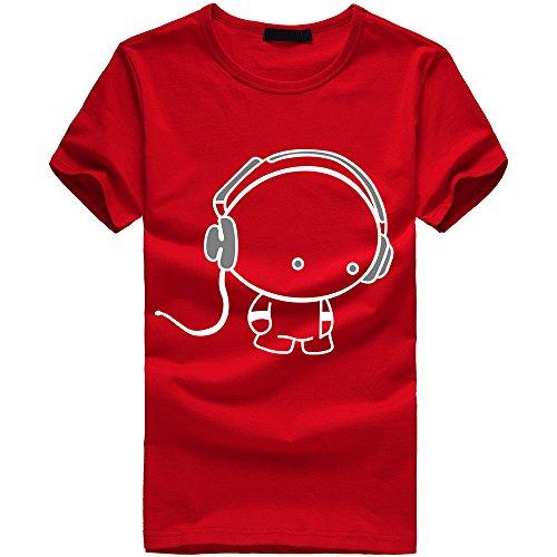 Tee À shirt T Homme Shirt Manches Noël Rouge2 Chemisier Impression Courtes De aaU8rF0