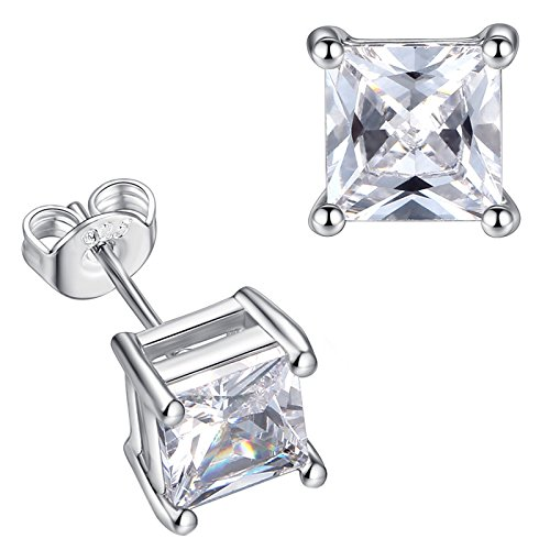 TOOGOO Nice Clear Square Cubic Zirconia Copper Stud Earrings White