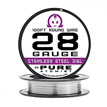 28g - Stainless Steel 316L Wire - 28 Gauge / 0.32mm - 100' Roll by Pure Atomist