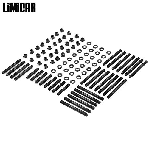 LIMICAR 32PCS Cylinder Gasket Head Studs Complete Set 134-4001 2451-S For Chevy Competition with Aluminum Iron Heads -