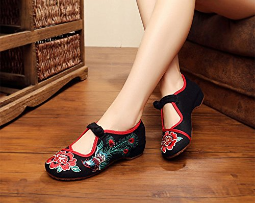 Phoenix Dcontractes Plates Embroidery Ethnic Chaussures Black Danding Et Women Flats 4wOR4qrxS
