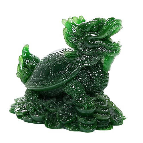 Ebros Acrylic Jade Green Resin Feng Shui Celestial Dragon Turtle Statue Talisman Lucky Tortoise Figurine Sculpture Decorative Charm - Chinese Jade Lucky Dragon