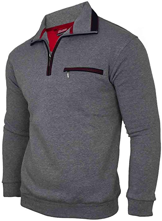 Humy Men's Long-Sleeved Polo Sweat Shirt with Collar, Polo Shirt, Blouson Shirt Made of Cotton Mix (M to 3XL)
