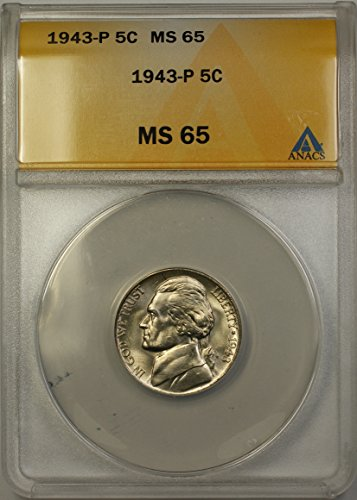 1943 P Jefferson Wartime Silver 5c Coin (RL-B) Nickel MS-65 ANACS