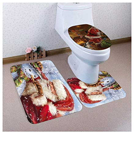 (3PCS Christmas Snowman Elk Non-Slip Pedestal Rug + Lid Toilet Cover + Bath Mat Set(3943cm/4040cm/6040cm,B))