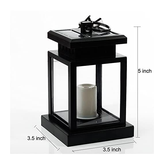 "AMEI Solar Lantern, Solar LED Deck Light, Outdoor Hanging Solar Garden Light, Patio Lanterns, Yard Decorations,Hanging… - Small & Portable - 3.5"" x 3.5"" x 4.9"", with a metal clamp and ring, you can change lighting place to yard garden lawn patio umbrella outdoor anywhere you can hang. Energy-Saving & Auto On-OFF - Powered by solar, you just need take this led lantern under direct sunshine 4-6 hours, the included rechargeable battery will storage plenty of energy to light dusk to dawn with Auto on-off. No added electricity fee or battery cost. High Quality Made, long service life, no UV or IR, environmental friendly.4 to 5 hours of sunlight at day time provides 6 to 9 hours brightness at night. - patio, outdoor-lights, outdoor-decor - 51XBGXyky3L. SS570  -"