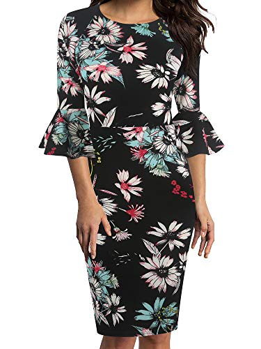oxiuly Women's Casual Scoop Neck Floral Flare Sleeve Midi Work Sheath Dress OX292 (L, BKmu Floral)