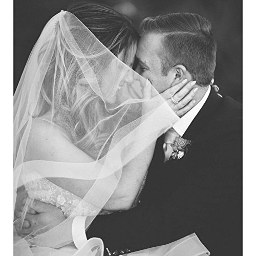 Fingertip Veil with 2 inch Horsehair Trim 2 Tiers with Blusher Veil with Crinoline Trim Wedding Veil (2 tiers)