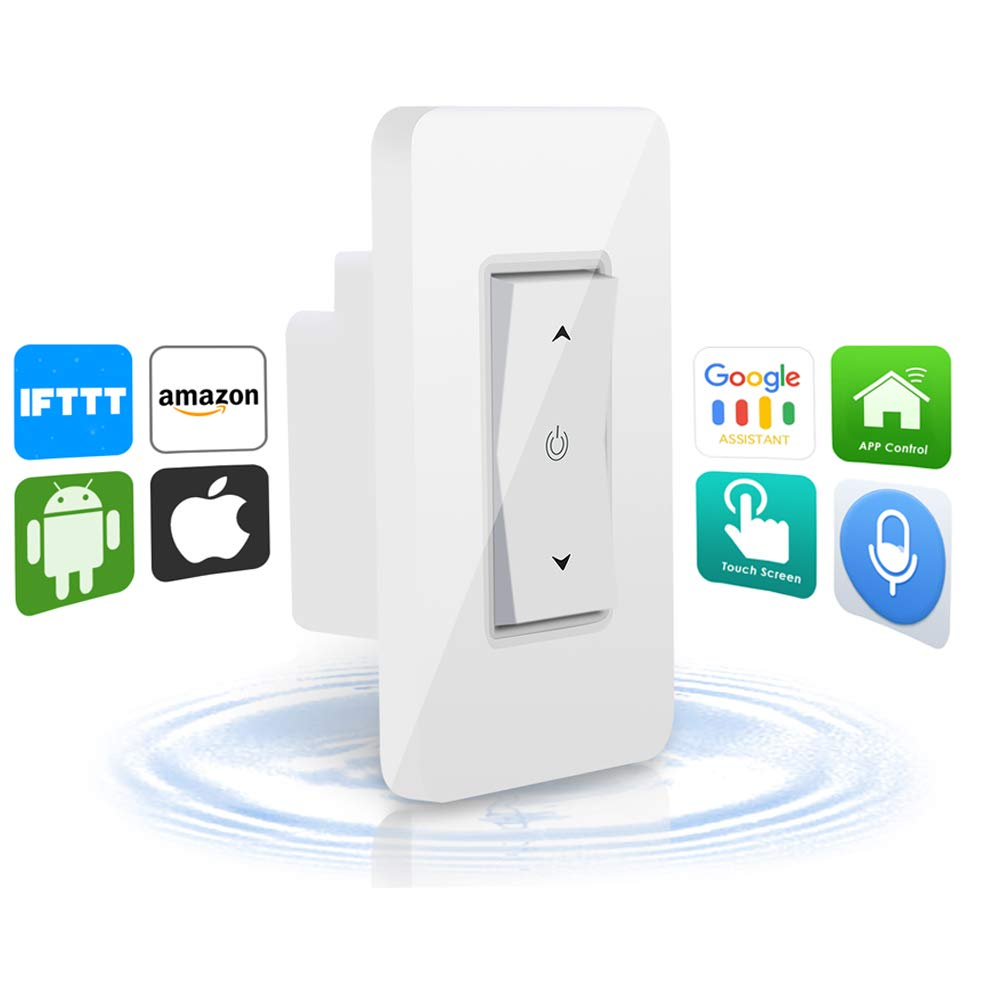 WiFi Dimmer Switch, Whlzd Smart Wall light Switch, Adjustable Brightness  Wireless Remote and Timing Function - Compatible with Alexa, Google Assistant and IFTTT, Control Your Fixtures From Anywhere