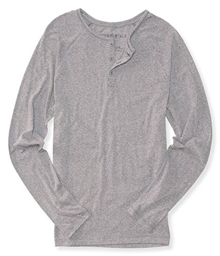 Aeropostale Mens Heathered LS Henley Shirt, Grey, Medium