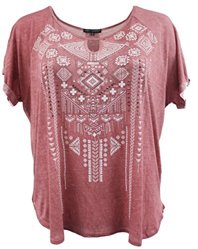 - BNY Women Plus Size Rhinestones Casual Rayon T-Shirt Knit Top Tee Blouse Peach 1XL 17039