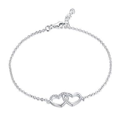 YL Armband Herz 925 Sterling Silber Weiß Gold überzogen und Zirkonia Herz  von Herz Armband Schmuck für Damen, 18-20cm  Amazon.de  Schmuck 482b9db8ad