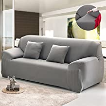 Bluecookies Stretch Loveseat Slipcover 1-Piece Elastic Fabric Couch Cover Protector Grey