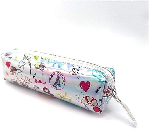 YC electronics Bolsa De Lápiz Estuche holográfico Iridiscente for niñas Boy PU Útiles Escolares Papelería Regalo Caja de lápices Linda Bolsa de lápices (Color : J): Amazon.es: Hogar