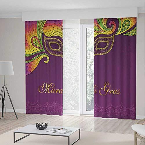 ALUONI Bedroom Blackout Curtains TT02 Mardi Gras Living Room Bedroom Décor Colorful Lace Style Corner Ornaments Calligraphy 2 Panel Set 141W x - Amara Lace