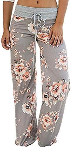 artfish Mujeres Loose Baggy Yoga pantalones largos florales impresos pantalones