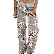 Artfish Women's Loose Baggy Yoga Long Pants Floral Printed Trousers (2XL, Light Grey)#12