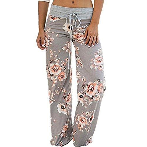 - Artfish Women's Loose Baggy Yoga Long Pants Floral Printed Trousers (L, Light Grey)#12